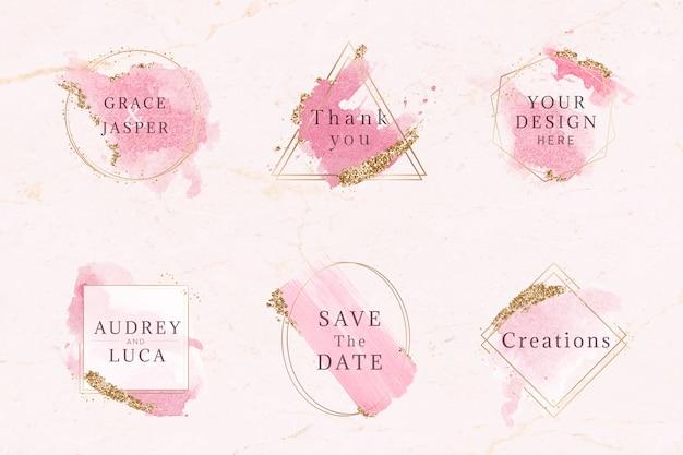 Conjunto de distintivo rosa e dourado