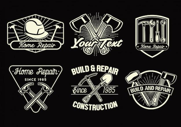 Conjunto de distintivos de ferramentas de trabalho