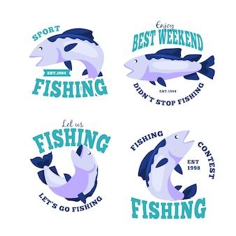 Conjunto de distintivos de pesca detalhados vintage