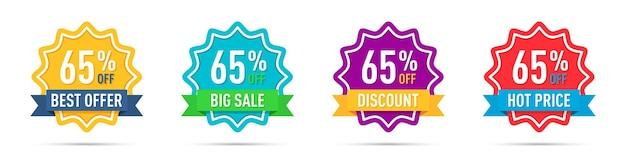 Conjunto de distintivos de promoção de 65% de desconto