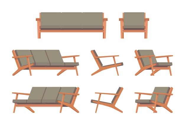 Conjunto de divã verde retrô e poltrona