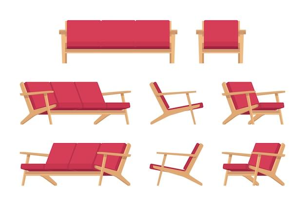Conjunto de divã vermelho retrô e poltrona