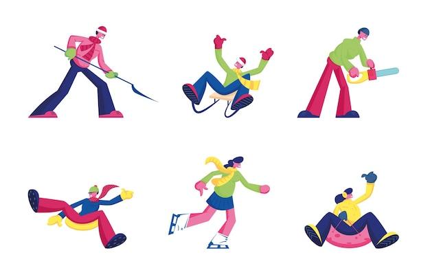 Conjunto de diversão de inverno e atividades definidas isolado no fundo branco. ilustração plana dos desenhos animados