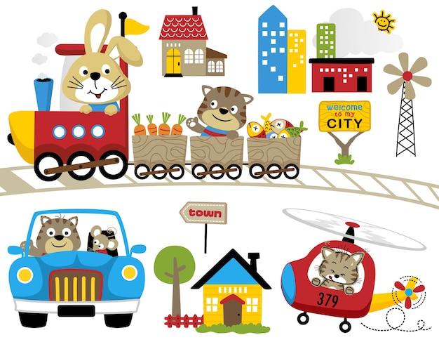 Conjunto de diversão viajar com animais engraçados
