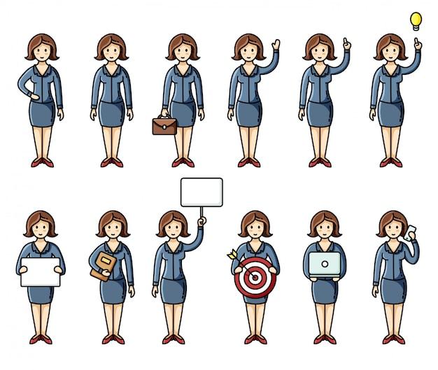 Conjunto de diversas poses mulheres de negócios estilo plano infográfico elementos