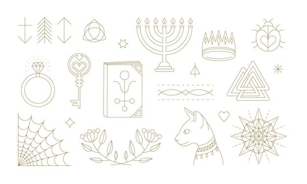 Conjunto de diversos símbolos esotéricos e místicos Vetor Premium