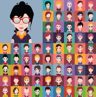 Conjunto de diversos vetores de avatares masculinos e femininos