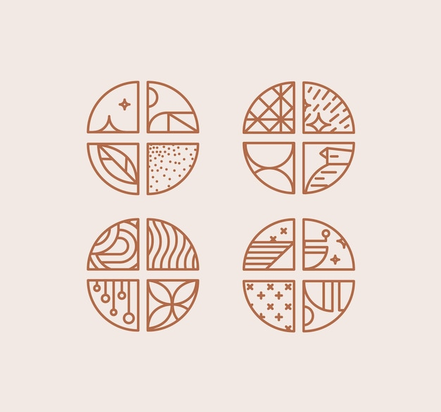 Conjunto de divisas de café criativa moderna art deco em estilo de linha plana, desenho em fundo bege.