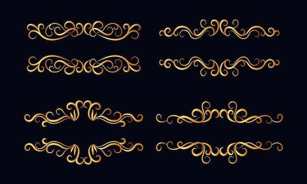 Conjunto de divisores caligráficos dourados