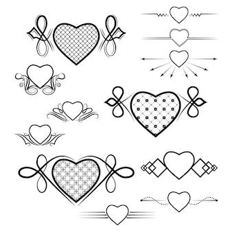 Conjunto de divisores com a imagem do coração
