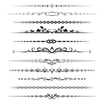 Conjunto de divisores de capítulo. elemento decoração retro vintage