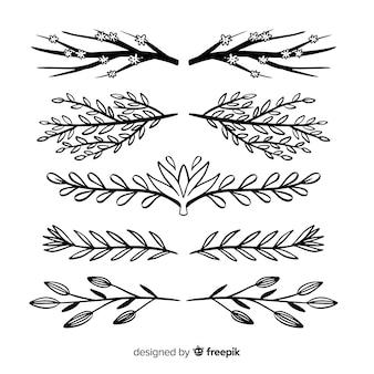 Conjunto de divisores de mão desenhada
