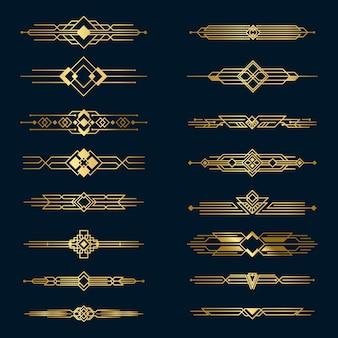 Conjunto de divisores de metal dourado
