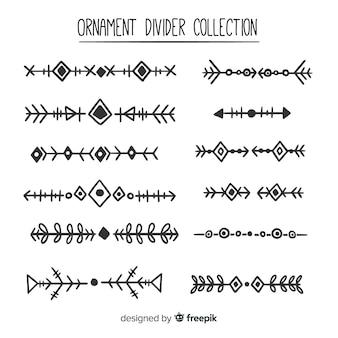 Conjunto de divisores de ornamento de mão desenhada