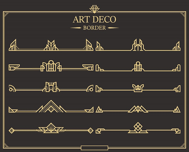 Conjunto de divisores de página caligráfico ouro art deco.
