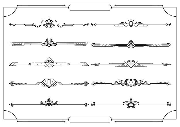 Conjunto de divisores na fronteira, elementos de design decorativo de vetor