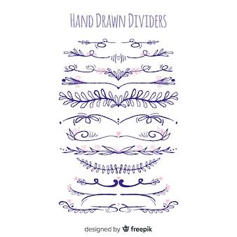 Conjunto de divisória de ornamento de mão desenhada