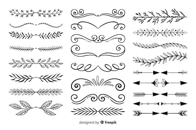 Conjunto de divisória ornamental mão desenhada