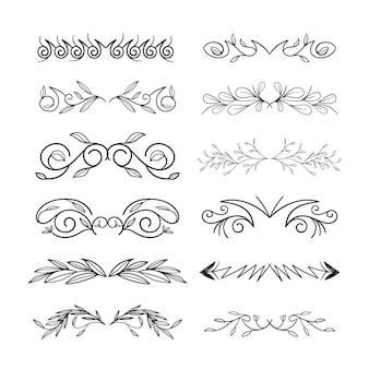 Conjunto de divisórias ornamentais caligráficas
