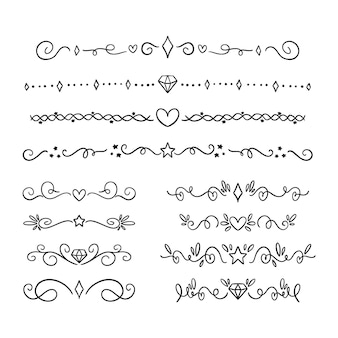 Conjunto de divisórias ornamentais desenhadas à mão