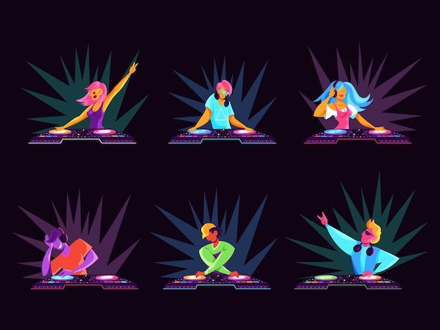 Conjunto de dj. coleção de pessoa em pé no console de áudio. música club, músico artístico. ilustração