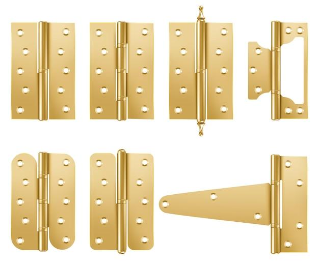 Conjunto de dobradiças de porta douradas