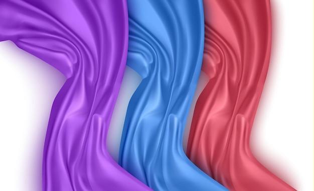 Conjunto de dobras onduladas de material de veludo cetim com textura de seda grunge Vetor Premium