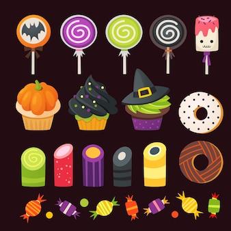 Conjunto de doces coloridos de halloween para crianças. doces de vetor decorados com elementos de halloween.