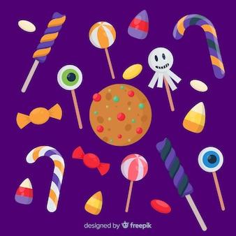 Conjunto de doces coloridos de halloween para crianças