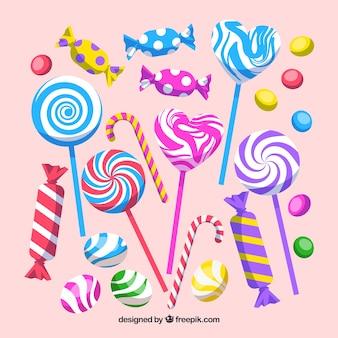 Conjunto de doces coloridos em estilo simples