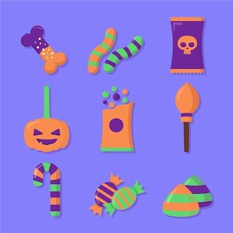 Conjunto de doces de halloween de design plano