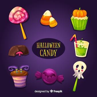 Conjunto de doces de halloween delicioso