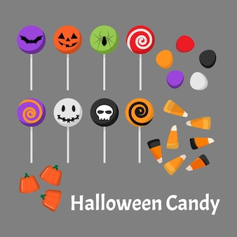 Conjunto de doces de halloween e pirulito.