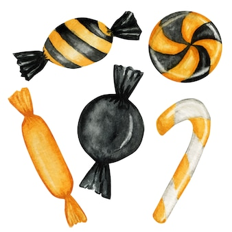Conjunto de doces de halloween para crianças. doces ou travessuras de entretenimento nas cores tradicionais do feriado de outubro.