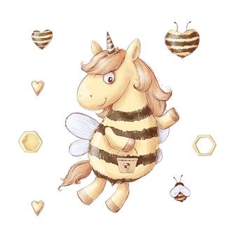 Conjunto de doces de mel de abelha unicórnio dos desenhos animados. ilustração em aquarela.