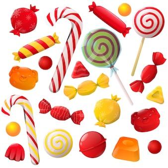 Conjunto de doces de natal de desenho animado