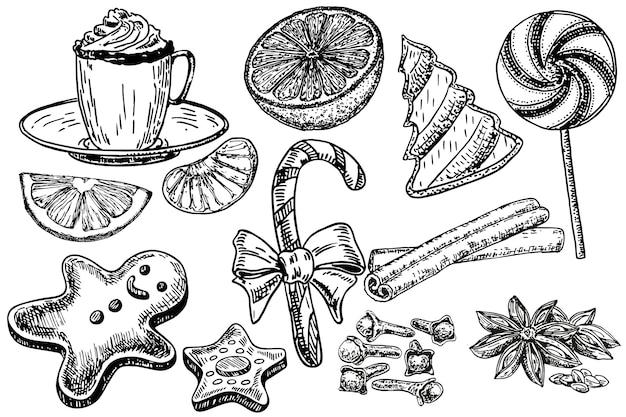 Conjunto de doces de natal, ilustração de esboço de desenho de mão. tangerinas, biscoitos, doces, especiarias.