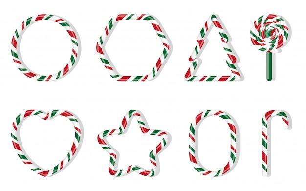 Conjunto de doces de natal. vermelho e verde tratar inverno de férias. bastão de doces doces açúcar dos desenhos animados noel