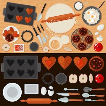 Conjunto de doces de padaria com ingredientes e ferramentas de cozinha