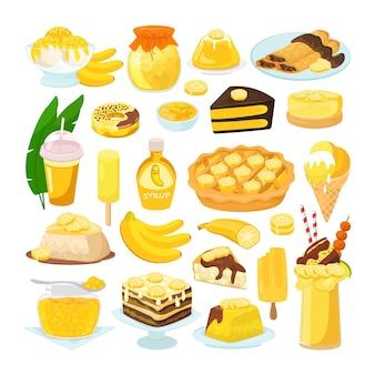 Conjunto de doces deliciosas sobremesas caseiras de banana