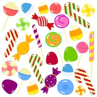 Conjunto de doces doces e coloridos