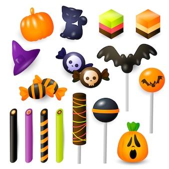 Conjunto de doces e bombons de halloween