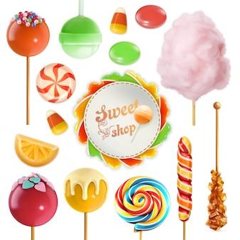 Conjunto de doces. redemoinho de caramelo. algodão doce. pirulito doce. ícone 3d