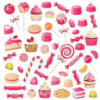 Conjunto de doces. sobremesas doces, bombons de chocolate, marshmallow e geleia de drageia. bolinhos de chocolate, biscoitos, pirulito doce
