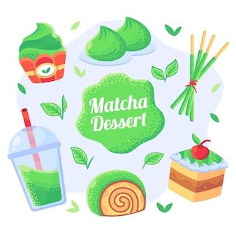 Conjunto de doces tradicionais japanesse matcha verde
