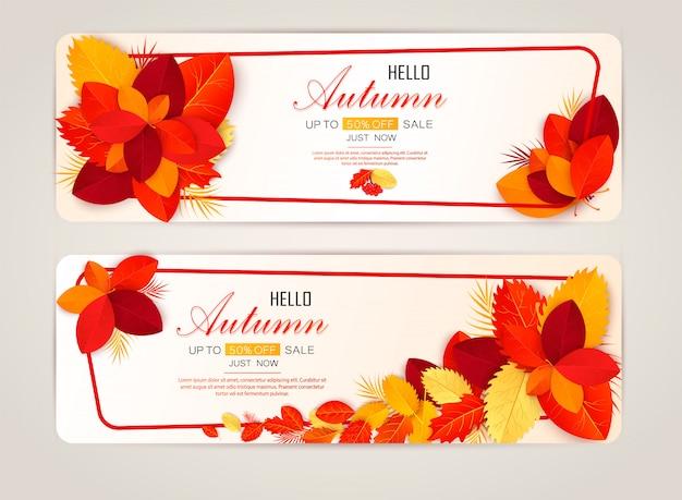 Conjunto de dois banners com folhas de outono coloridas.