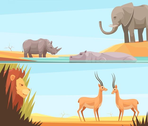 Conjunto de dois banners de animais selvagens horizontais
