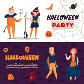 Conjunto de dois banners de halloween