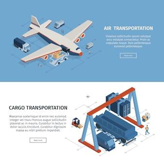 Conjunto de dois banners de logística isométrica horizontal com clicável, leia mais botões ilustração em vetor de texto e imagens editáveis