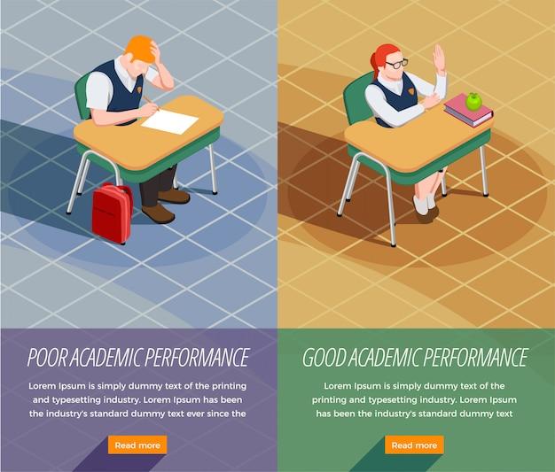 Conjunto de dois banners de pessoas isométricas verticais do ensino médio com composições de estudantes que não realizam e encaminham